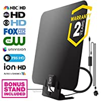 HDTV Antenna by WatchFree HDTV - Amplified High Definition TV Antenna | 50 Mile Range w/ In-Line Signal Amplifier for Best Reception | 11ft Coax Cable | Wall Mountable w/ Included Optional Table Stand