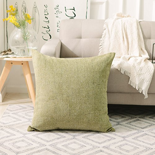 HOME BRILLIANT Decorative Throw Pillow Covers Super Soft Striped Chenille Plush Euro Shams Cushion Cover Cases for Garden, 26 x 26 inches, Fresh Grass Green
