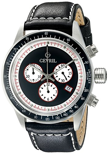 Gevril Tribeca Mens Chronograph Swiss Quartz Black Leather Strap Watch, (Model: A2110)