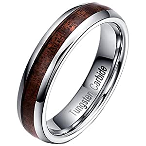 Men Women 5mm Tungsten Carbide Vintage Wedding Ring Acacia Wood Inlay Engagement Promise Band Comfort Fit Size 5