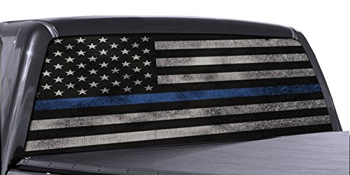 (EZ CUT PRO Blue Thin Line American Flag Perforated Vinyl Decal Truck Rear Window Sticker 65