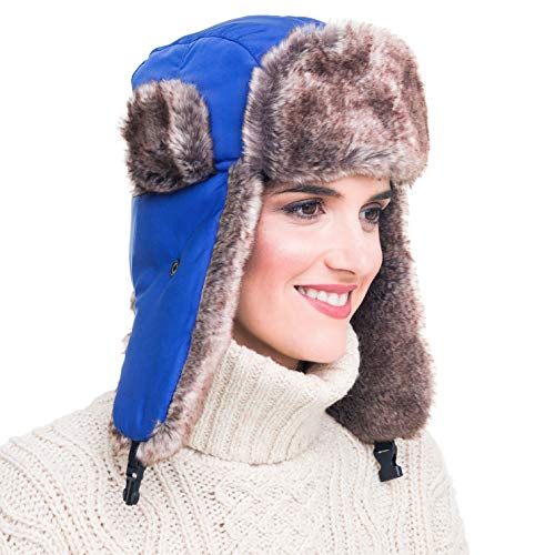 MELIFLUOS DESIGNED IN SPAIN Trapper Bomber Hat for Men and Women Russian Warm Fur for Ski Winter Hunting (Double Blue)