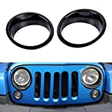Opar Black Headlight Cover Bezels Trim for 2007 - 2017 Jeep JK Wrangler & Unlimited - Pair