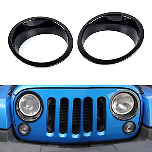 Opar Black Headlight Cover Bezels Trim for 2007 - 2018 Jeep JK Wrangler & Unlimited - Pair