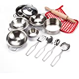 Toyerbee Little Chef Stainless Cookware Set 15 Piece Toy Pots and Pans with Cooking Utensils Kitchen Playset for Toddlers