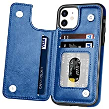iPhone 11 Case,Hoofur Slim Fit Premium Leather iPhone 11 Wallet Case Card Slots Shockproof Folio Flip Protective Shell for Apple iPhone 11 (6.1 inch) 2019 (Blue)