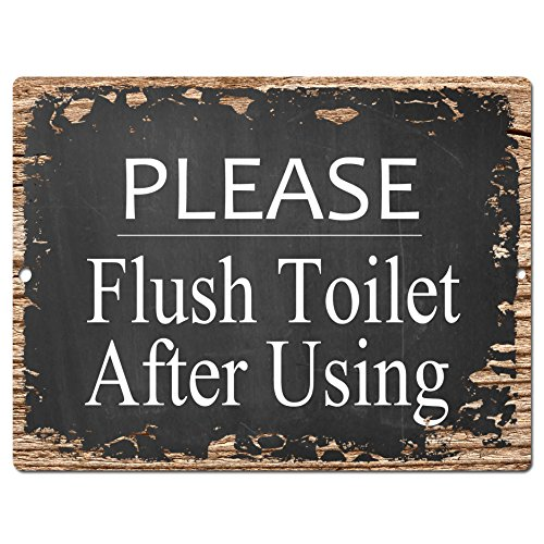 Please Flush Toilet After Using Chic Sign Rustic Shabby Vintage style Retro Kitchen Bar Pub Coffee Shop Wall Decor 9