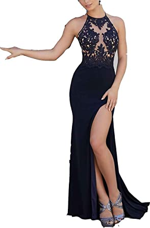 Ruisha Women Lace Halter Mermaid Prom Dresses 2018 Long High Slit Formal Evening Party Gowns RS0082
