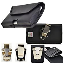 Genuine Leather Horizontal Rugged Heavy Duty Magnet Closure Case with Belt Loop Clip and Steel Clip fits LG G3 with an Otterbox Defender case on it.
