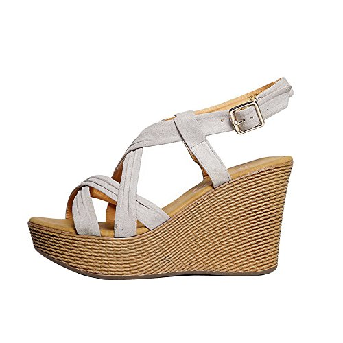 Toe AgooLar Open Buckle Sandals High Microfiber Heels Solid Beige Women's wXrqXa4