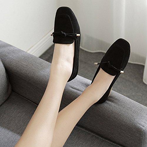 T-juli Dames Casual Loafers Comfort Rijden Vierkante Neus Mocassins Cent Slip-on Schoenen Zwart