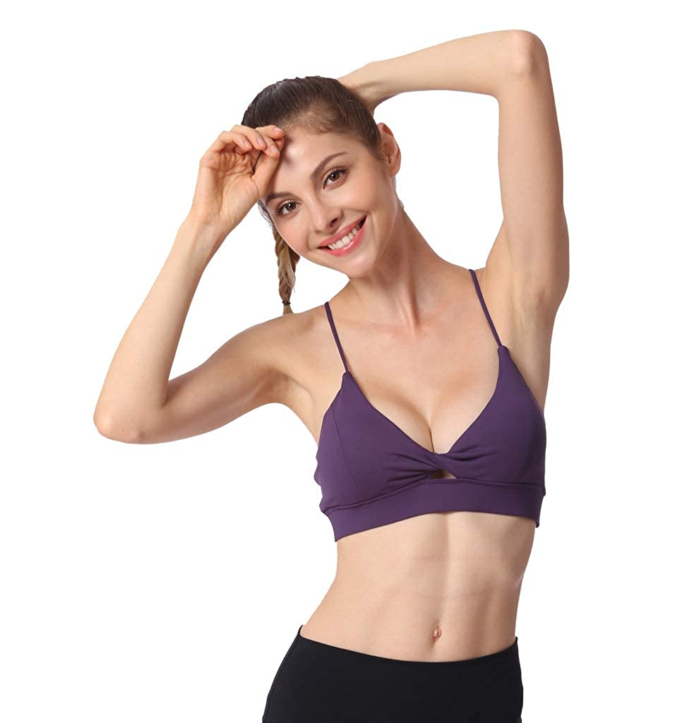 Womens Sports Yoga Bra with Removable Pads Medium Support Crossback Wirefree Top Gym Workout Running Push up Yoga Bra