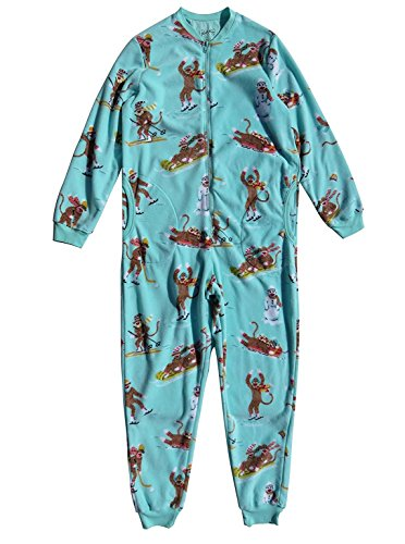 Nick & Nora Women's Sock Monkey Fleece One Piece Pajamas Aqua (XX-Large)
