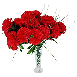 MM TJ Products 4 Artificial Carnation Bouquet, 28 Fake Flowers Heads with Vase (Red) 50