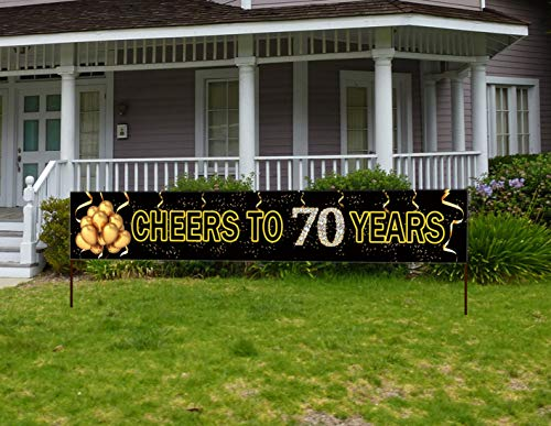 Cheer Birthday Party Supplies (Large Cheers to 70 Years Banner, Black Gold 70 Anniversary Party Sign, 70th Happy Birthday)