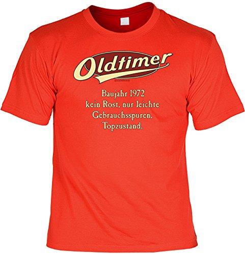 Modisches Herren Fun-T-Shirt als ideale Geschenkeidee im Set zum 44. Geburtstag + Mini Tshirt Jahrgang 1973 Farbe: rot