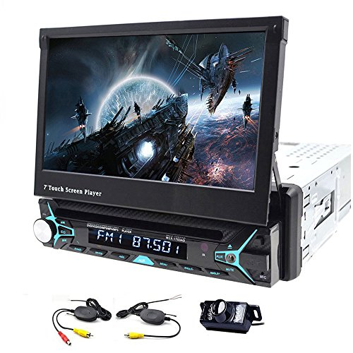 Single 1 Din Car Stereo GPS Navigation 7 Inch Touchscreen In Dash Automotive DVD Player Support Bluetooth Auto Radio Video Audio Head unit USB with Wireless Backup Camera Gps Navigation System Kit