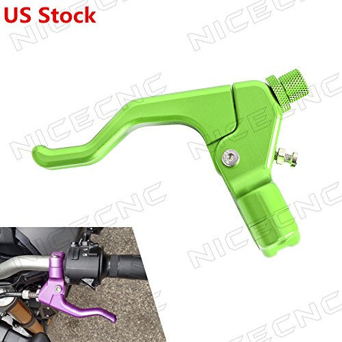 NICECNC Universal Green CNC Short Stunt Clutch Lever for Most Motorcycles with cable clutch (Can't Fit Hydraulic Clutch ()