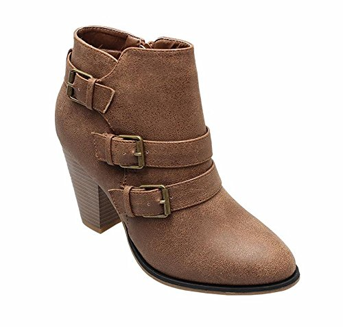 Forever Women's Buckle Strap Block Heel Ankle Booties, Tan 9