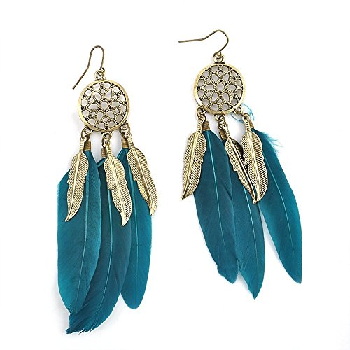 Mother's Day Gifts-Valentoria®Vintage Ethic Feather Drop Earrings Dangle Handmade Jewelry Bohemian Style (Teal Blue)