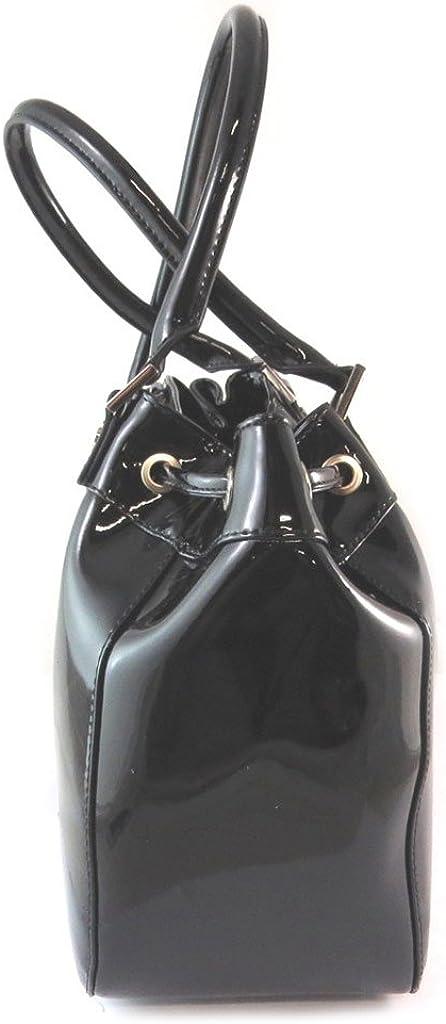 Jacques ESTEREL [N9684 Sac Cuir noir vernis 35x27x15 cm