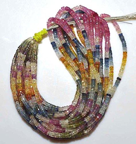 Devgemsandjewels Full 16 Inch Strand Fine Quality Multi SAPPHIRE Faceted TYRE Rondelle Beads 3.50-4 mm.
