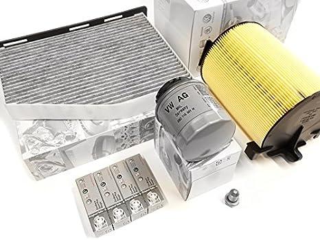 Original Volkswagen Audi ATEC con Bujía 1.4 Tsi (Modelos Gasolina caxa filtro Inspección Mantenimiento Service filtro del paquete de 8 piezas: Amazon.es: ...
