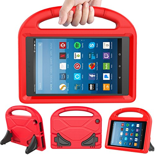 (LEDNICEKER Kids Case for Fire HD 8 2018/2017 - ShockProof Handle Friendly Convertible Stand Kids Case for Fire HD 8 inch Tablet (7th & 8th Generation Tablet, 2017 & 2018 Release) - Red)