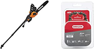 Worx WG309, 8 Amp 10-inch Corded Electric Pole Saw & Chainsaw with Auto-Tension & Oregon S40 AdvanceCut 10-Inch Chainsaw Chain, Fits Craftsman, Poulan, Remington