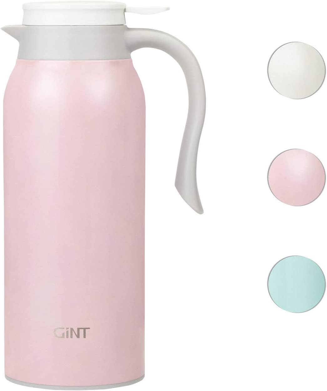 GiNT 51 Oz Stainless Steel Thermal Coffee Carafe, Double Walled Vacuum Thermos, 12 Hour Heat Retention, 1.5 Liter Tea, Water, and Coffee Dispenser, Pink