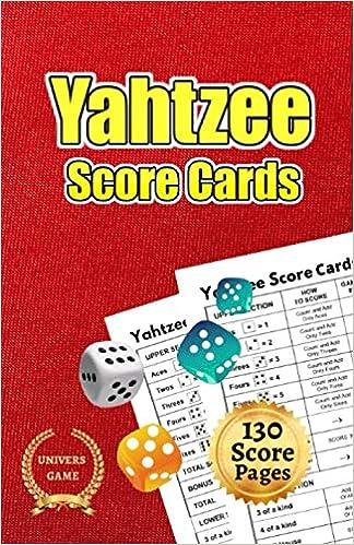 Yahtzee score cards: Record Score Keeper Book, 5