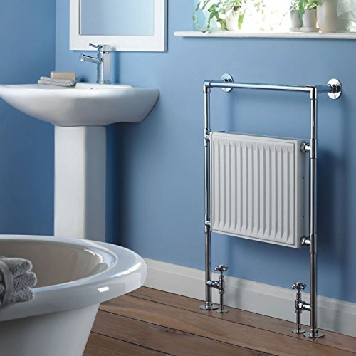 "Hudson Reed - Duchess Heated Towel Radiator With Valves Included In Chrome & White Finish - 37"" x 26.8"""