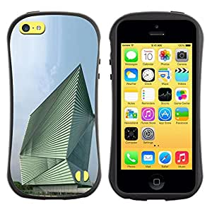 Fuerte Suave TPU GEL Caso Carcasa de Protección Funda para Apple Iphone 5C / Business Style Architecture Abstract Building
