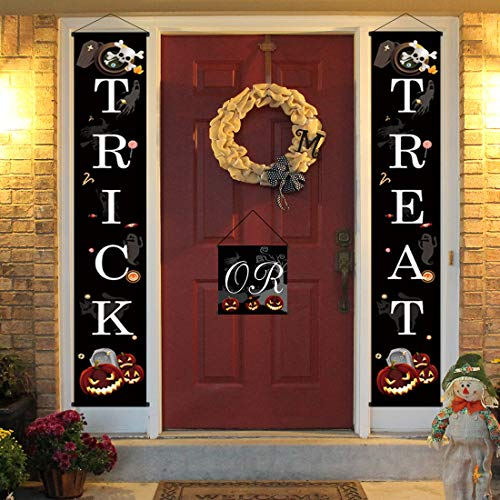 3 PCS Funny Trick or Treat Halloween Banner Door - Halloween Hanging Sign for Outdoor Home Office Porch Front Halloween Decorations to Welcome]()