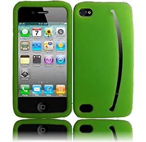 iPhone 4GS 4G CDMA GSM Smile Silicone Skin Cover - Neon Green