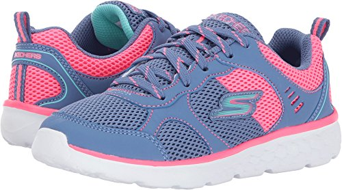 Skechers Kids Girl's Pep Kicks Lace-Up (Little Kid/Big Kid) Blue/Neon Pink 11 Little Kid M