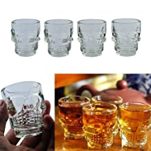 LUQUAN 4Pcs Small Crystal Skull Head Shot Glass Whisky Beer Wine Drinking Ware