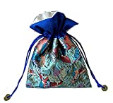 4Pcs/set Silk Brocade Fengshui Jewelry Bag Double Layer Drawstring Purse Gift Bag