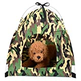 ZUNEA Small Pet Cat Tent Camouflage Pop Up Portable Foldable Sun Shade Wild Style Dog Home Indoor Outdoor Bed House for Beach Camping Picnic Travel Green