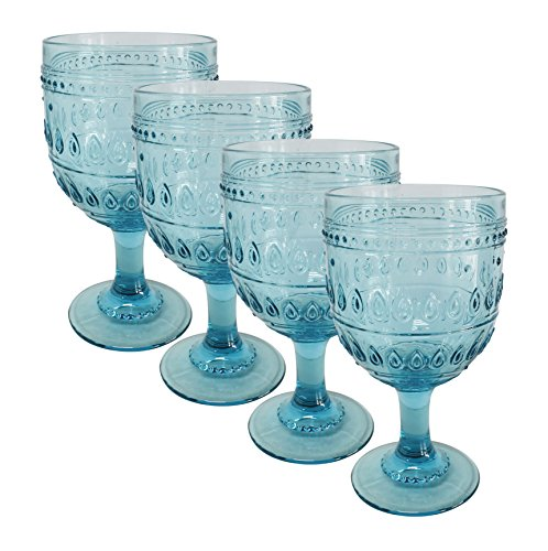 Euro Ceramica Fez Glassware Collection Wine/Water Goblet Glasses, 12oz, Set of 4, Turquoise (Glasses Water Turquoise)