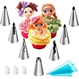 LOHOME Russian Piping Tips 13 Pieces/Set - Icing Tips Kits for Doll Cake Princess Dress - 7 Large Size Piping Nozzles [304 Stainless Steel] + 3 Couplers + 3 Size Reusable Decorating Bags