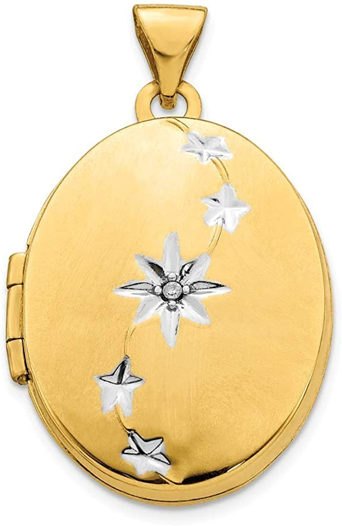 14k Yellow Gold Polished Oval Locket Pendant