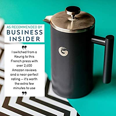 Coffee Gator French Press Coffee Maker - Less Sediment, Hotter-for-Longer Thermal Brewer - Plus Travel Jar - Large Capacity, Double-Wall Insulated Stainless Steel - 34 Ounce - Gray