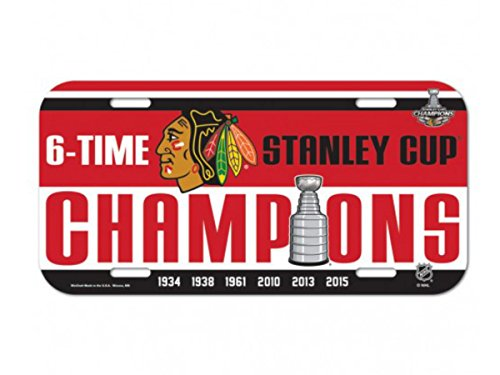 Chicago Blackhawks 2015 Stanley Cup Champions 6 Times Wincraft License Plate
