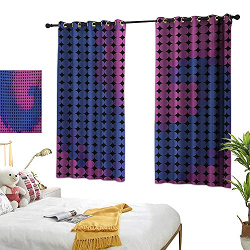 Warm Family Grommet Curtains Spires,Spiral Background with Pixel Dotted Flat Design Odd Gradient Artistic Style Print,Pink Blue 54