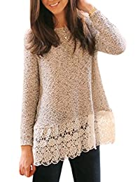 Women Autumn Long Sleeve Lace Patchwork T Shirt Tunic Top Tee