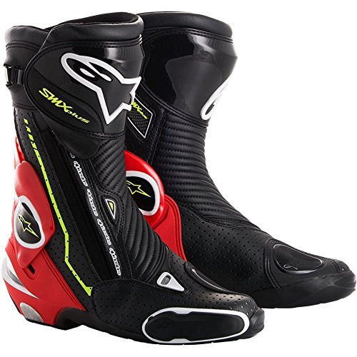 Alpinestars SMX Plus Vented Motorcycle Boots - Black/White/Yellow/Red - 45