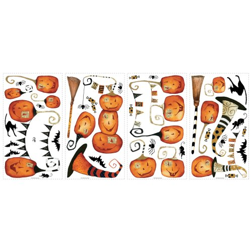 RoomMates RMK2464SCS Halloween Pumpkins Peel and Stick Wall Decals, 1-Pack (Halloween Pumpkins Peel And Stick Wall Decals)