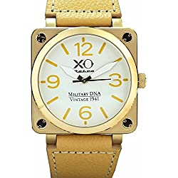 Brand New XO Retro Mens Watch P-51 MUSTANG Military DNA Square Collection Yellow Gold Khaki Strap 02S