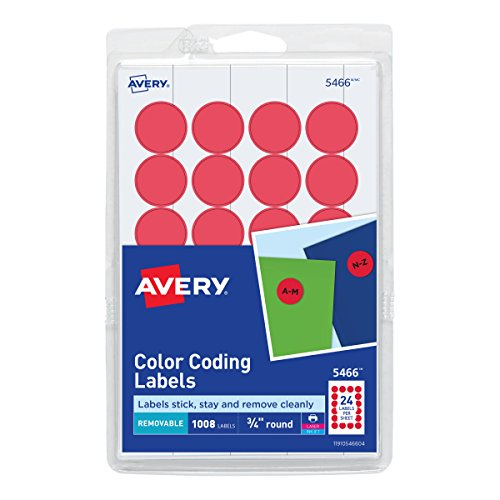 Avery Print/Write Self-Adhesive Removable Labels, 0.75 Inch Diameter, Red, 1008 per Pack (5466)